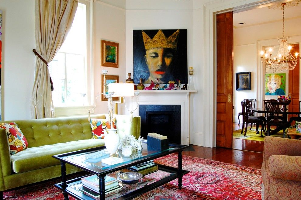 New Orleans Points of Interest for a Victorian Living Room with a Gold Chandelier and My Houzz: Eye Candy Colors Fill an 1800s New Orleans Victorian by Corynne Pless