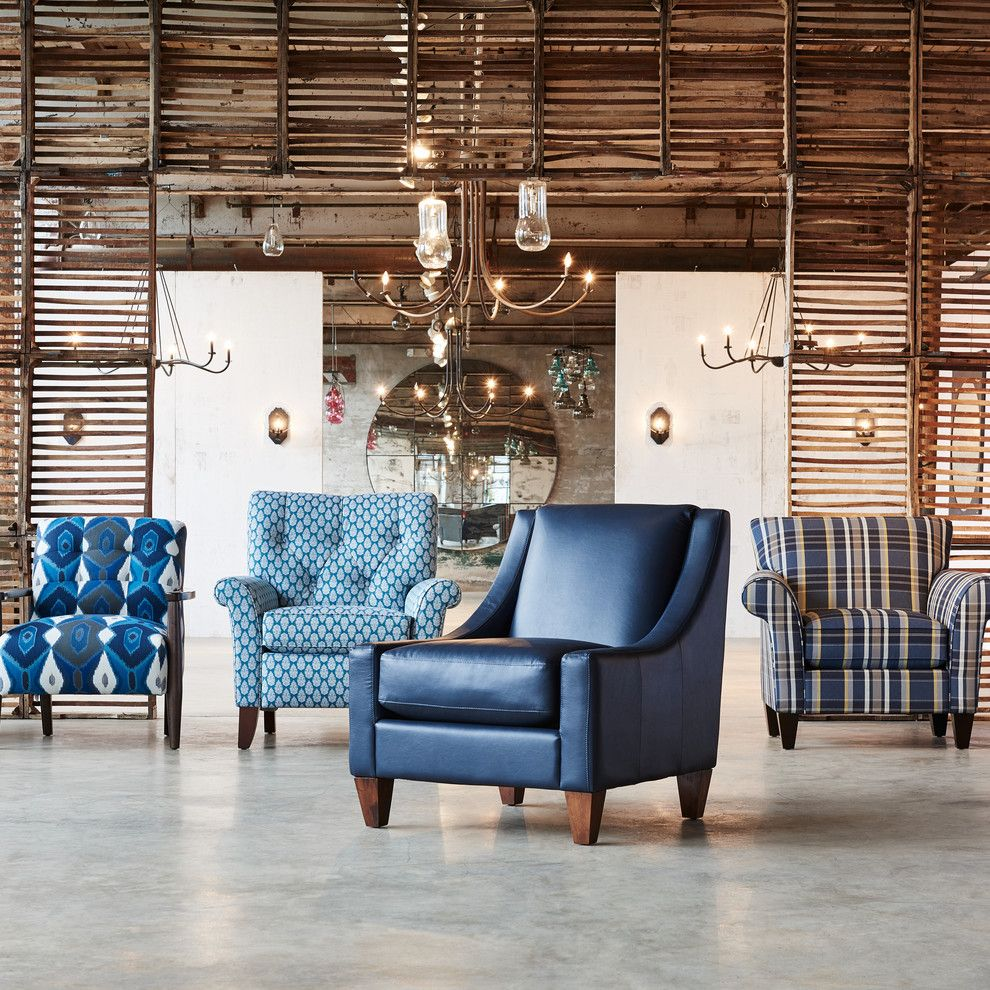 Newark Screens for a Eclectic Living Room with a Blue Armchair and La Z Boy by La Z Boy