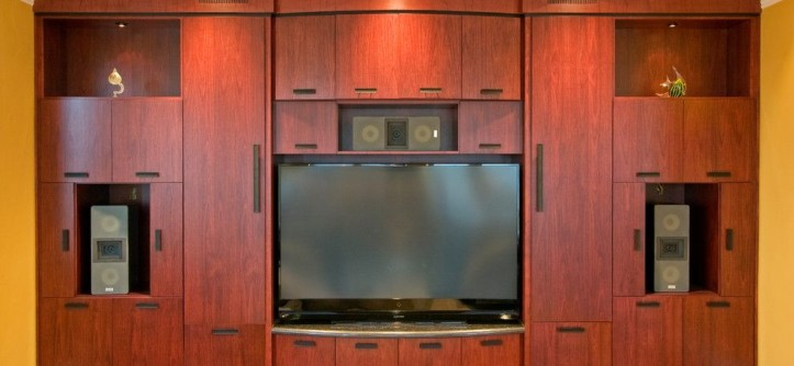 Newark Screens for a Modern Home Theater with a San Jose and Media Room by Dickinson Cabinetry