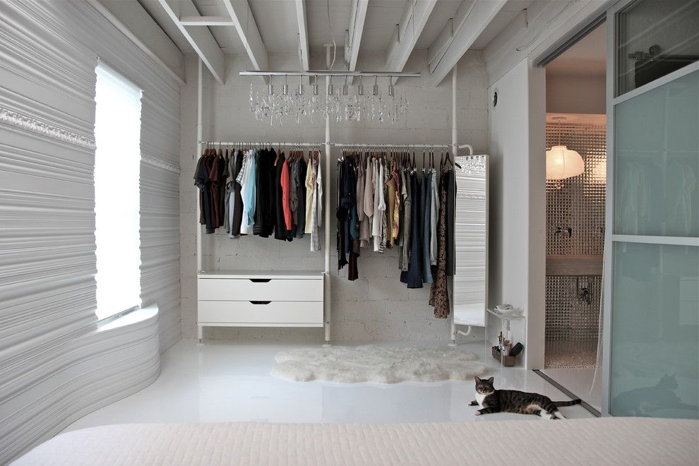 Newe for a Contemporary Closet with a Cinder Block Walls and Fit for a Mcqueen by Betty's Room, Llc