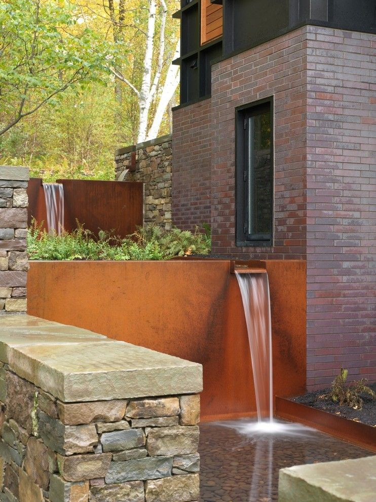 Nichols Hills Ok for a Contemporary Landscape with a Waterfall and Shelburne Water Feature by Church Hill Landscapes, Inc.