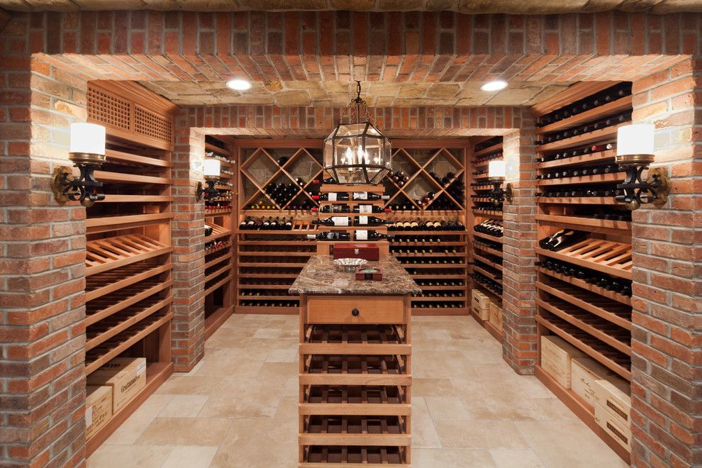 Nichols Hills Ok for a Traditional Wine Cellar with a Wood Kitchen Island and Short Hills Wine Cellar by Washington Valley Cellars