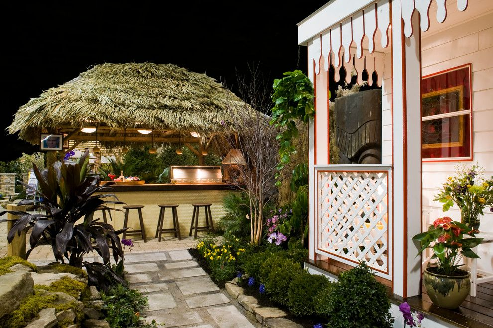Nikis for a Tropical Landscape with a Outdoor Bar and Pergolas and Pavilons by the Ohio Valley Group, Inc.