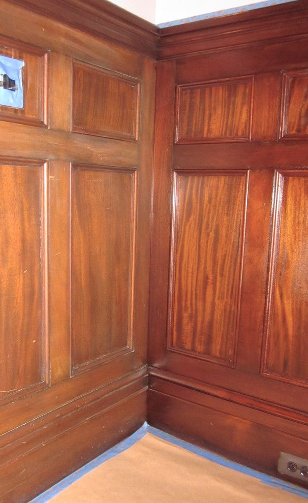 Nj License Restoration for a Traditional Dining Room with a Mahogany Paneling and Montclair, Nj Victorian Before & After by Ariana Hoffman: Ah & Co. Decorative Artisans