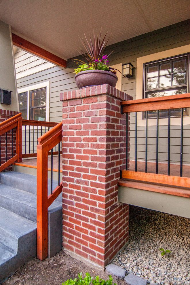 Norco Boise for a Craftsman Porch with a Brick and Bohn Front Porch Railing by Ck Rogers Design. Build. Remodel.