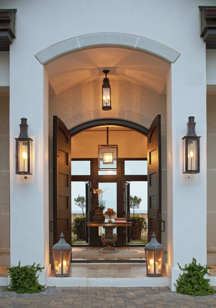Norco Boise for a Transitional Entry with a Arched Doorway and Bevolo Gas and Electric Lights by Bevolo Gas & Electric Lights