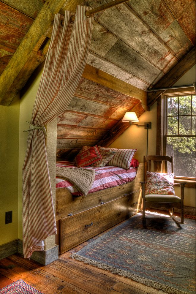 North Country Storage Barns for a Rustic Bedroom with a Wood Ceilings and Sleeping Nook by Lands End Development   Designers & Builders