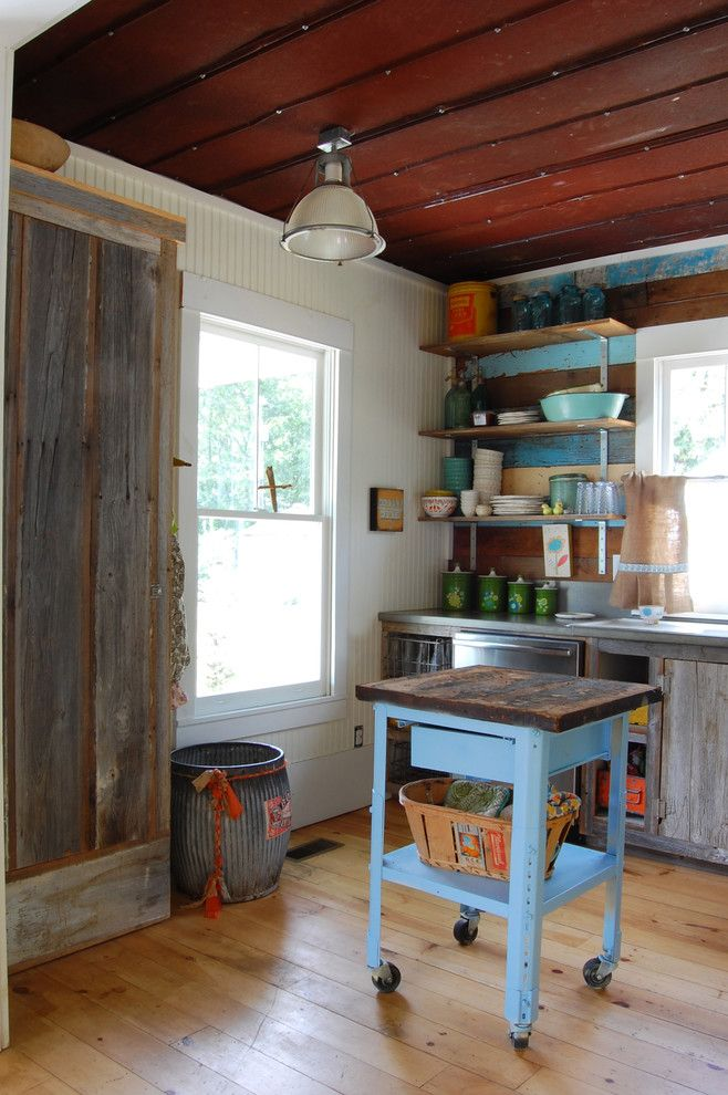 North Country Storage Barns for a Shabby Chic Style Kitchen with a Kitchen Window and My Houzz: Colorful Vintage Finds Fill a Chic Modern Farmhouse by Corynne Pless