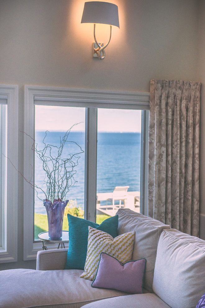 Northport Water for a Eclectic Family Room with a Ocean Views and Northport Beach House by Aprile Interiors