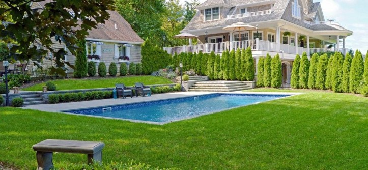 Northport Water for a Modern Pool with a Natural Stone Steps and Traditional Elegance in Northport, NY by Above All Masonry Design, Inc