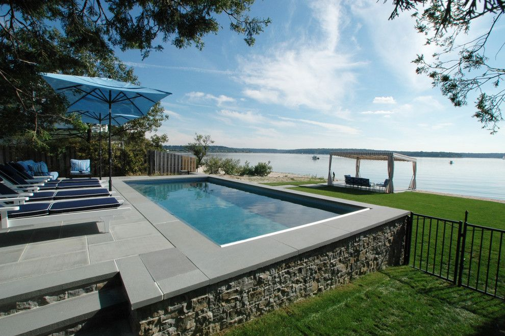 Northport Water for a Traditional Pool with a Automatic Cover and Northport Waterfront Gunite Swimming Pool by Haven Pools, Inc.
