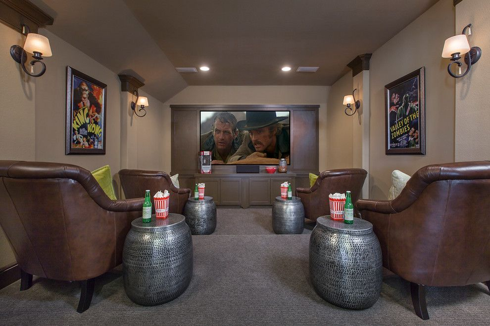 Northstar Movie Theater for a Traditional Home Theater with a Silver Accent Table and Coventry Homes   Hidden Lakes by Coventry Homes   Built Around You