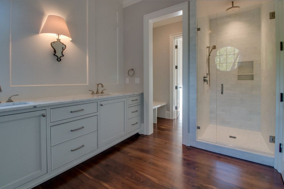 Oaks of Denton for a  Bathroom with a Black Walnut Flooring and Charlotte, Nc American Black Walnut Flooring by Oak & Broad