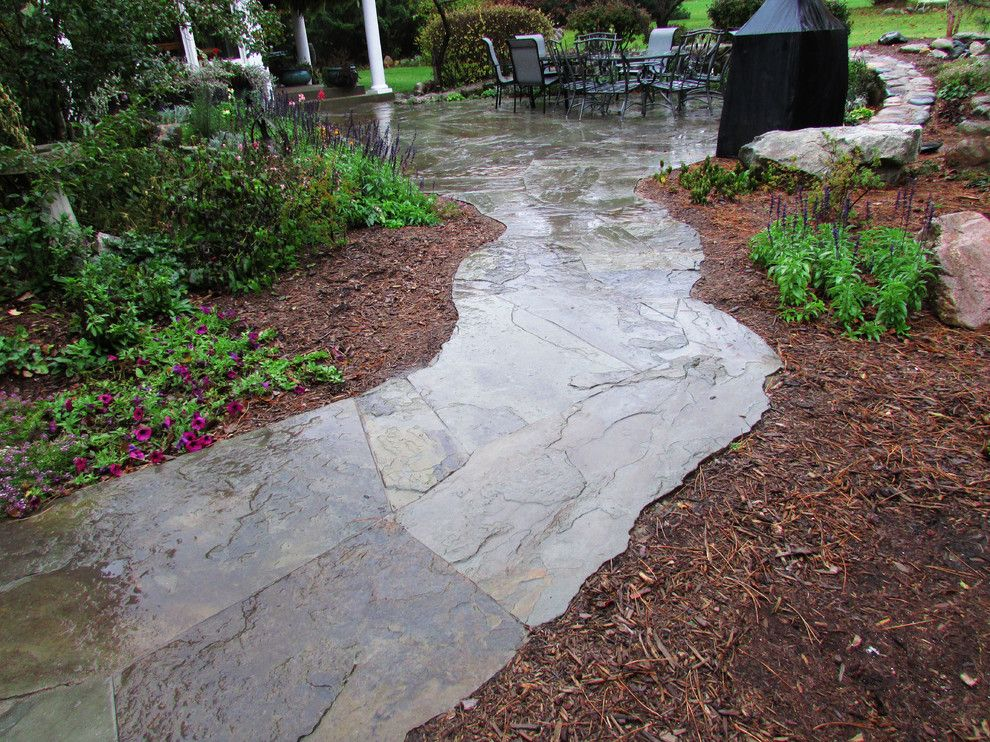 Oasis Ann Arbor for a Traditional Landscape with a Walkway and Ann Arbor Pondless with Flagstone Patio by Waterscape