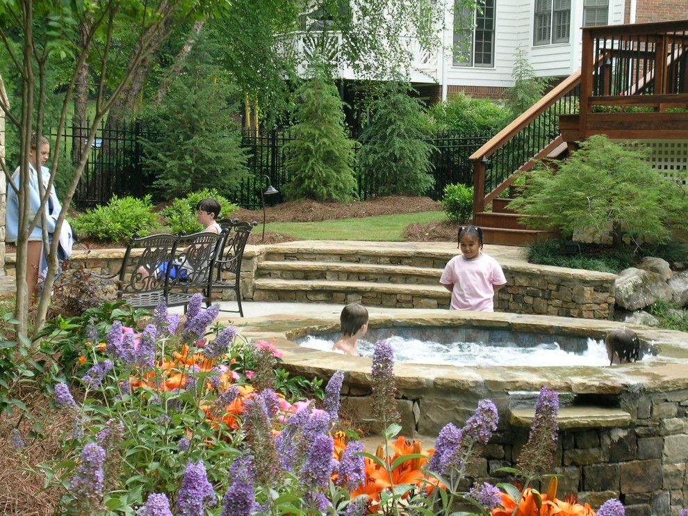 Oasis Spa Atlanta for a Traditional Deck with a Stone and Bond by Legacy Landscape Design, Llc