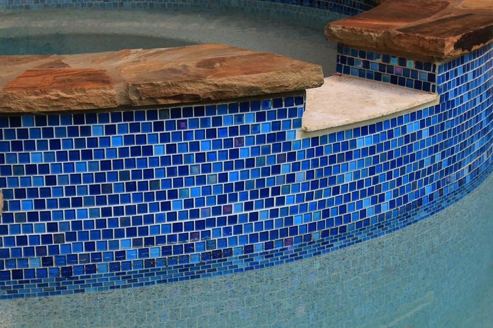Oasis Spa Atlanta for a Traditional Spaces with a Travertine Spillover Stone and Custom Tile Work by Mayan Pools & Sports Construction, Llc