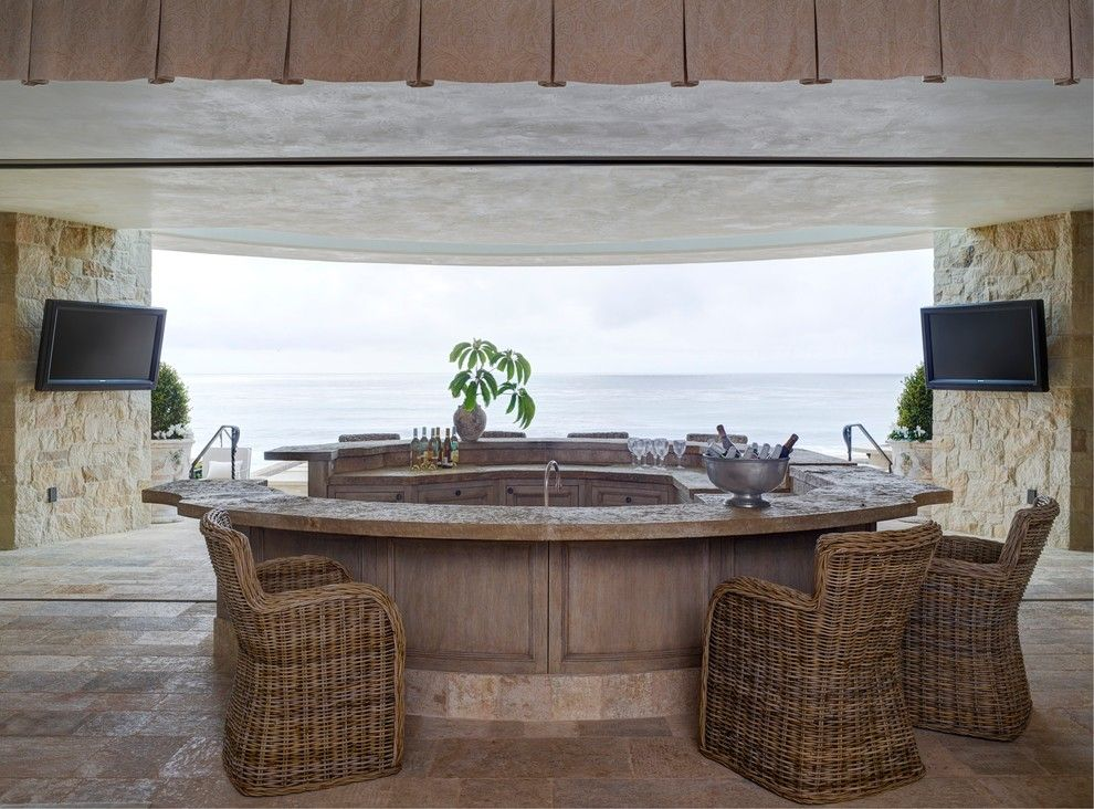 Oblivion Tom Cruise for a Mediterranean Home Bar with a Wet Bar and Beach House at the Strand, Dana Point, Ca by Homer Oatman, Aia