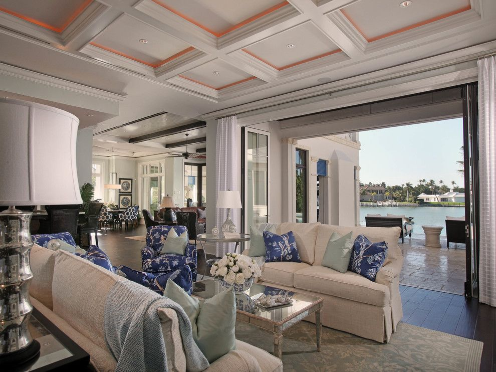 Oblivion Tom Cruise for a Tropical Living Room with a Blue and White Decor and Nelson's Bend, Port Royal by Jinx McDonald Interior Designs
