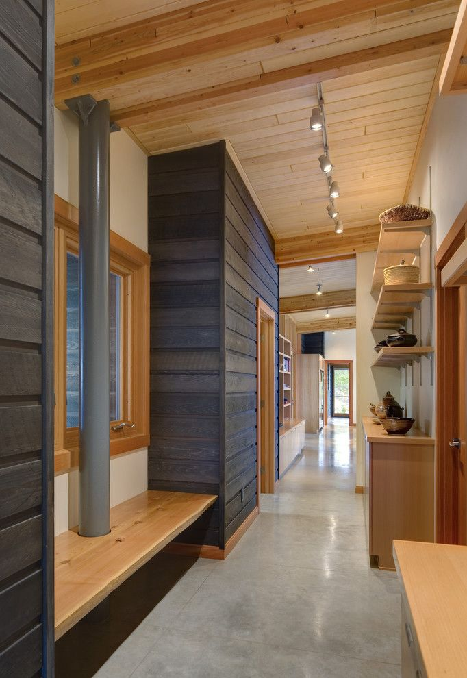 Ohio Points of Interest for a Rustic Hall with a Concrete Floor and Cortes by Prentiss Balance Wickline Architects
