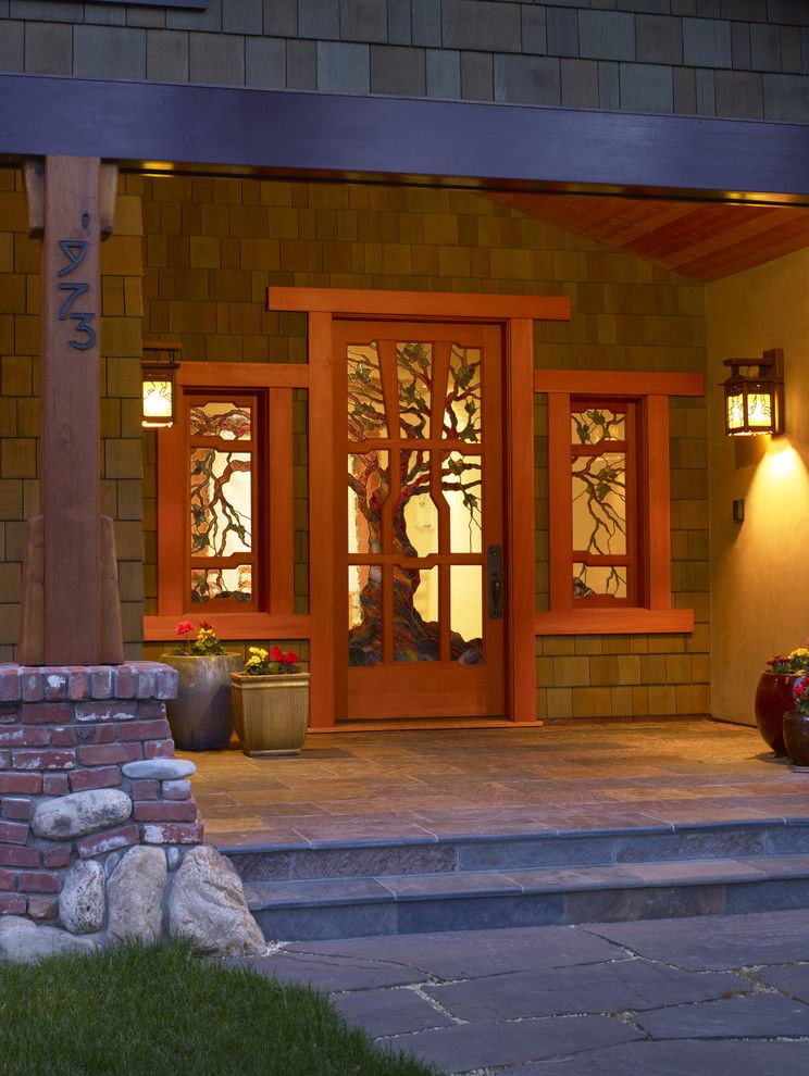 Old Masters Stain for a Craftsman Entry with a Flagstone and Craftsman Style by James Witt Homes