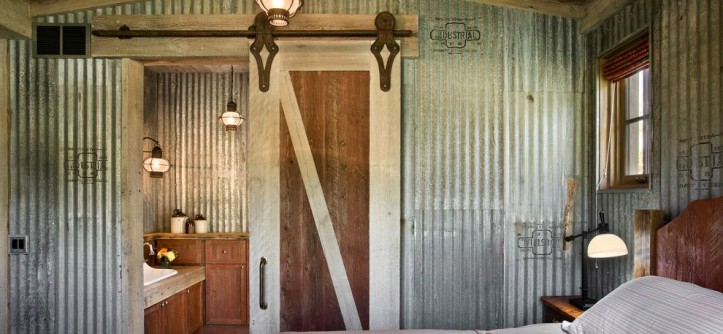 Old Masters Stain for a Farmhouse Bedroom with a Corrugated Metal Walls and Springhill Residence by Locati Architects