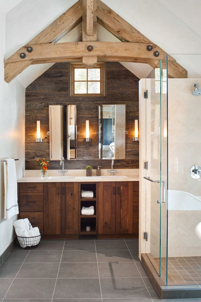 Old Masters Stain for a Rustic Bathroom with a Vaulted Ceiling and Woody Creek   Guest House by Structural Associates