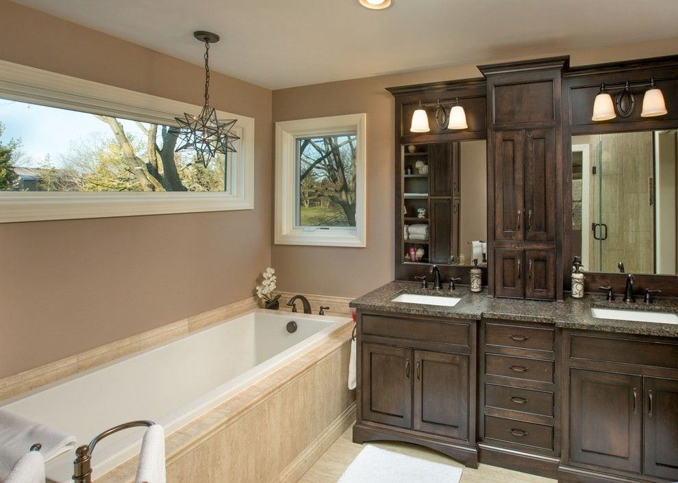 Old Masters Stain for a Traditional Bathroom with a Double Sinks and Espresso Master Bath by Finish Line Building