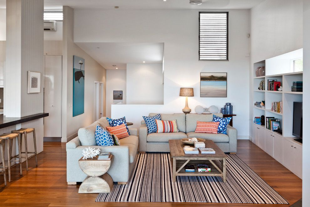 Ole Miss Housing for a Contemporary Family Room with a Built in Entertainment Center and Beach House by Highgate House