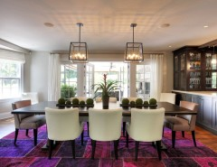 Olson Rug for a Contemporary Dining Room with a Wood Flooring and House in Redding, Fairfield County, CT by Callaway Architects, LLC