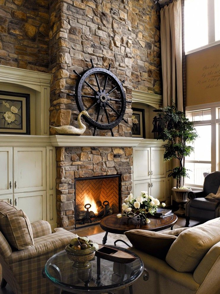 Ono Island for a Beach Style Living Room with a Faux Stone and Traditional Stone Fireplace by Eldorado Stone