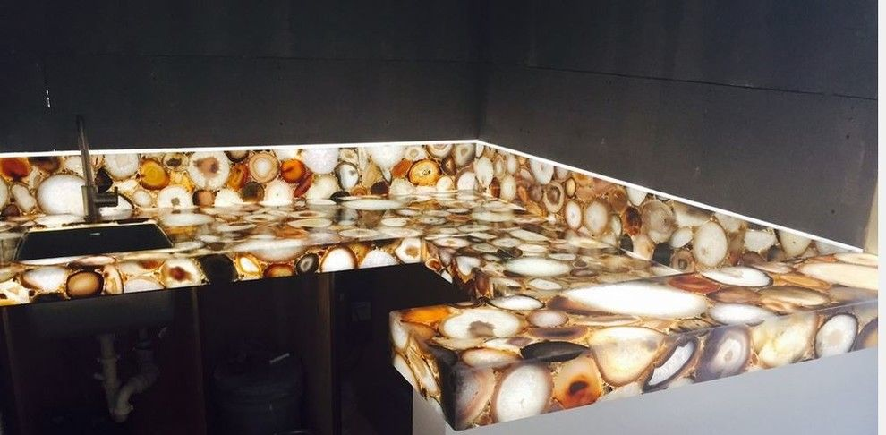 Onyx Dallas for a Contemporary Home Bar with a Even Illumination and Agate Countertop Backlit with Nu World Led Light Panels   by Lemmons Remodeling by Nu World Distribution Inc