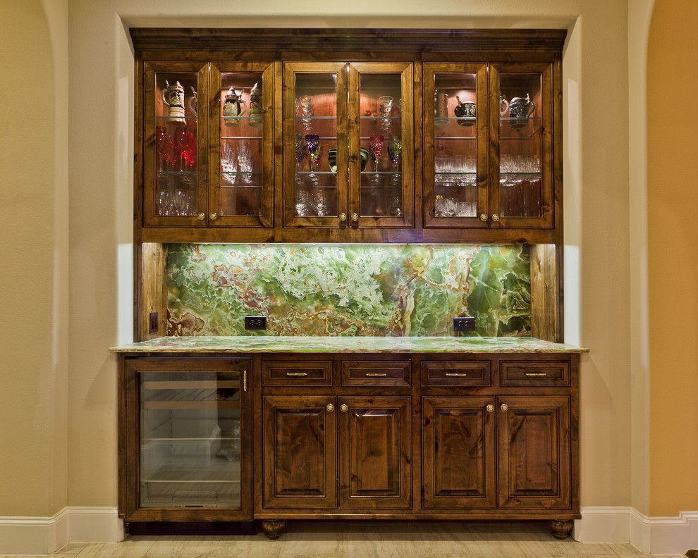 Onyx Houston for a  Home Bar with a Beer Wine Fridge and Canyon Crossing by Allied Stone Houston