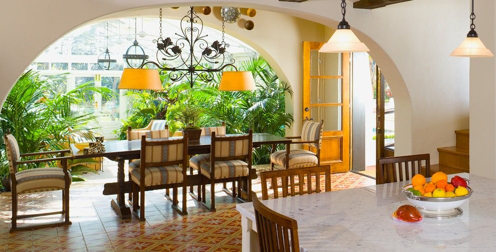 Opal Santa Barbara for a Mediterranean Dining Room with a Wood Beams and Santa Barbara by Sinclair Associates Architects