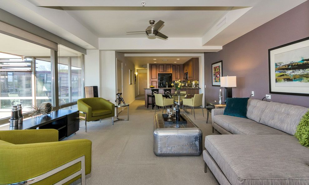 Optima Scottsdale for a Contemporary Living Room with a Interior Designer and Redesign (Before and After) Luxury High Rise, Optima 7161/7002 by Lydia Sweetland Thinkspace Design and Home Staging