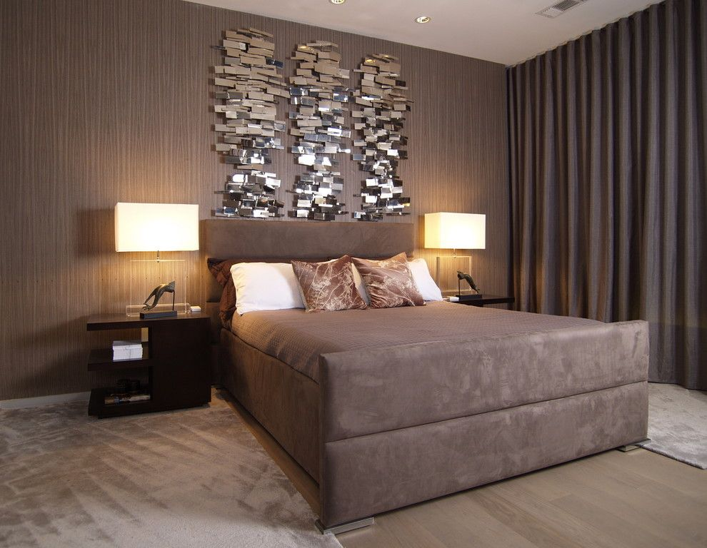 Oregon Decorative Rock for a Contemporary Bedroom with a Suede Bed and W Downtown Atlanta by Joel Kelly Design