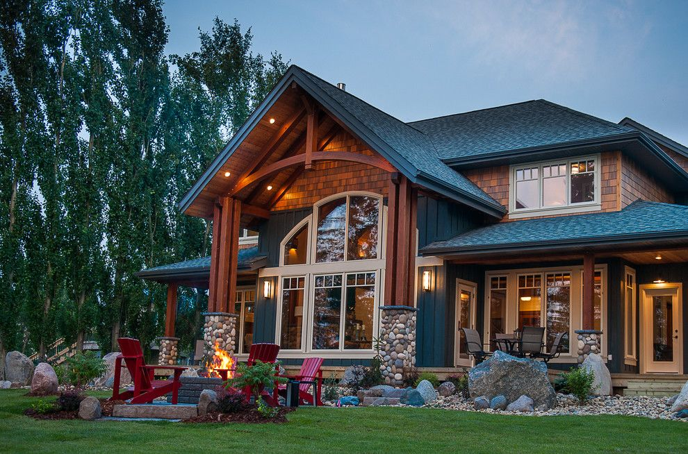 Oregon Decorative Rock for a Rustic Exterior with a Boulders and Saskatchewan Lakeside Retreat by Northern Sky Developments