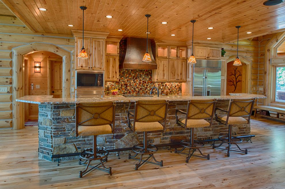 Oregon Decorative Rock for a Rustic Kitchen with a Pendant Lighting and Refined Log Home by Destree Design Architects, Inc.