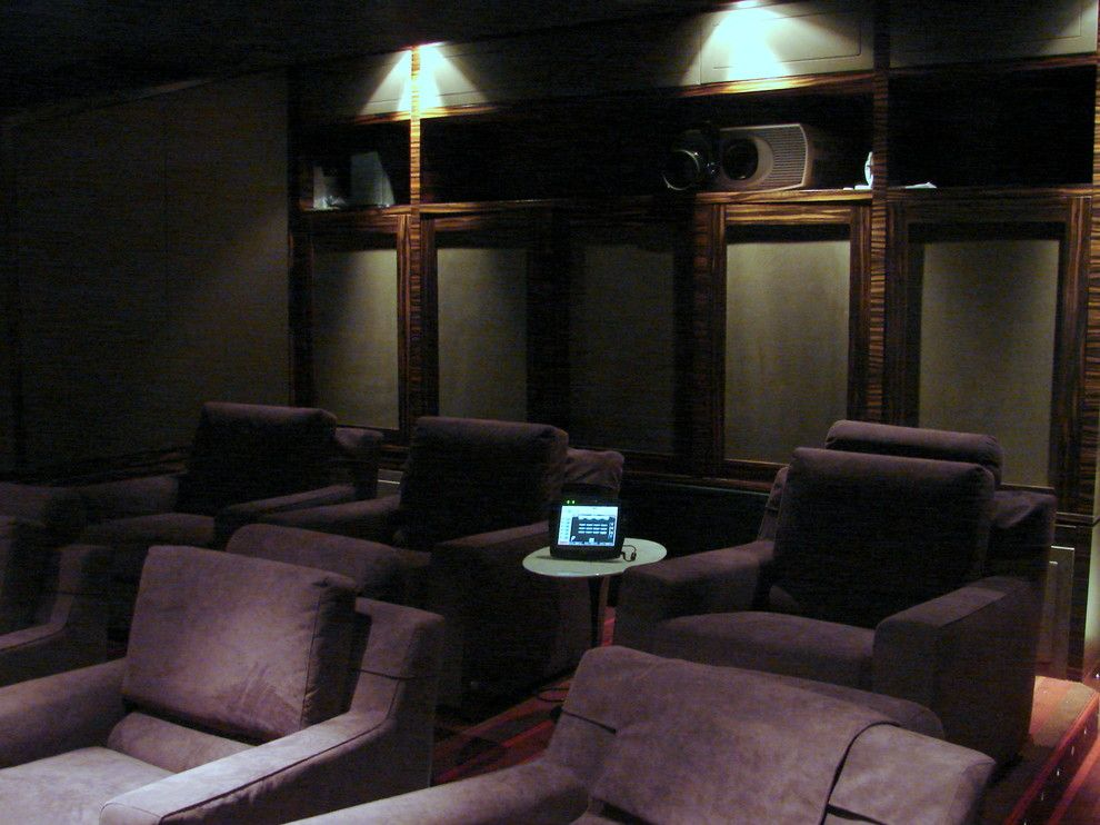 Orland Park Theater for a Contemporary Home Theater with a Contemporary and Office, Bar & Theater by South Park Design Build