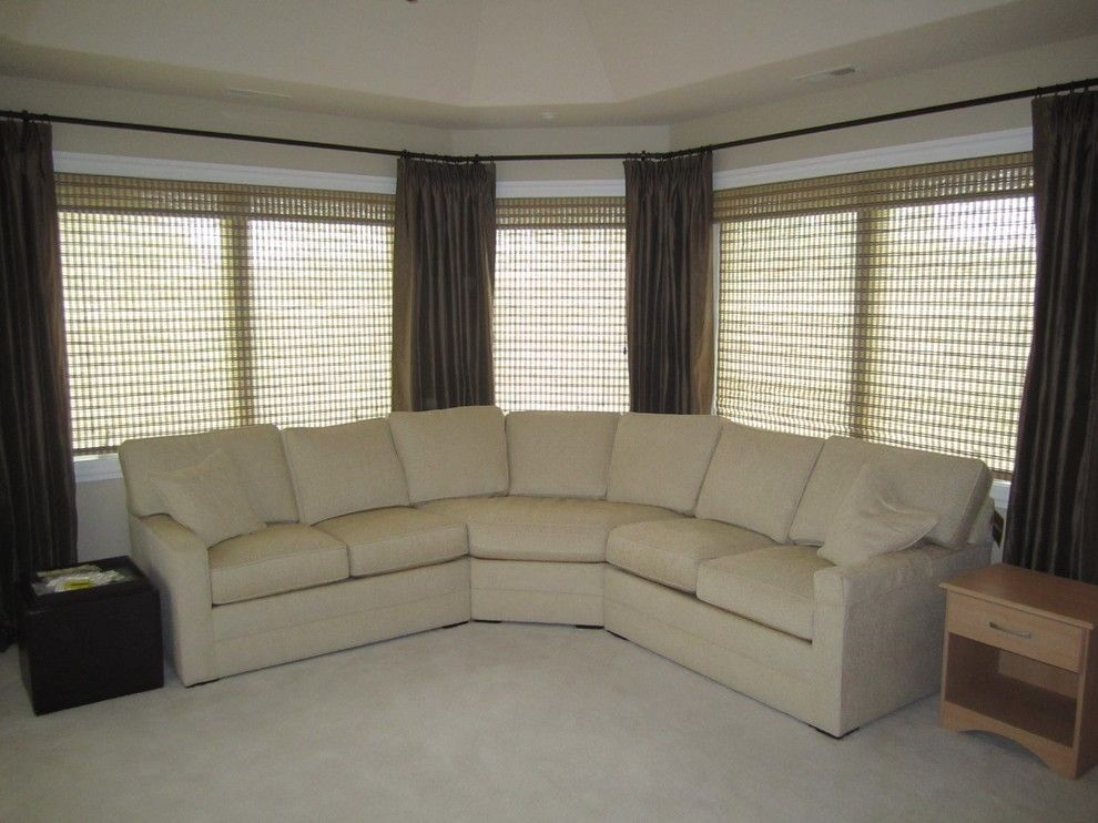 Orland Park Theater for a Traditional Home Theater with a Bay Window and Custom Window Treatments by Ethan Allen by Ethan Allen of Orland Park, IL