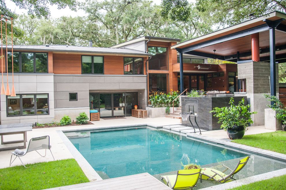Outdoor Basketball Courts Near Me for a Contemporary Pool with a Outdoor Living and Contemporary Backyard Pool by Blue Haven Pools & Spas   Charleston