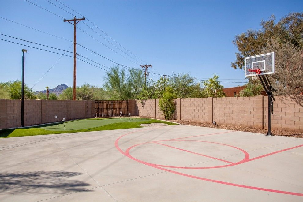 Outdoor Basketball Courts Near Me for a Traditional Landscape with a Backyard Putting Green and Our Work by Two Hawks Design and Development
