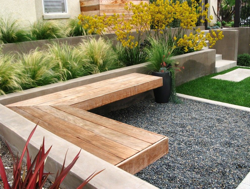 Outer Banks Furniture for a Contemporary Landscape with a Ipe Bench and Extreme Makeover in San Diego by Debora Carl Landscape Design