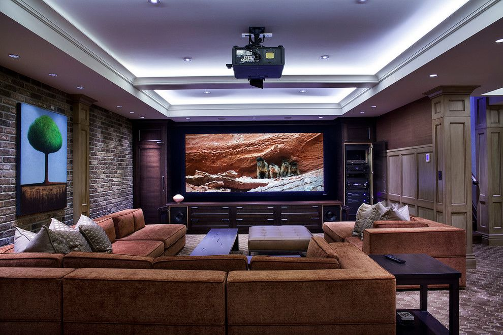 Outer Banks Furniture for a Transitional Home Theater with a Cedia and Cedia 2013 Triple Gold Winning Project