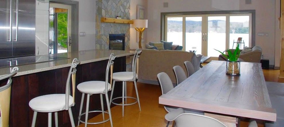Paint Aluminum Siding for a Contemporary Living Room with a Zig Zag Accent Pillow and Rensselaer County Contemporary Lake House Kitchen by J. Cashier Interiors