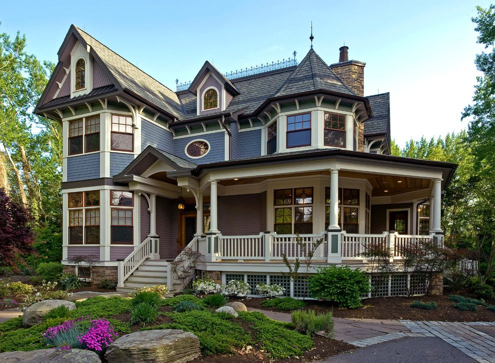 Paint Aluminum Siding for a Victorian Exterior with a Rock Landscape and Traditional Exterior by Degnan Design Group + Degnan Design Build