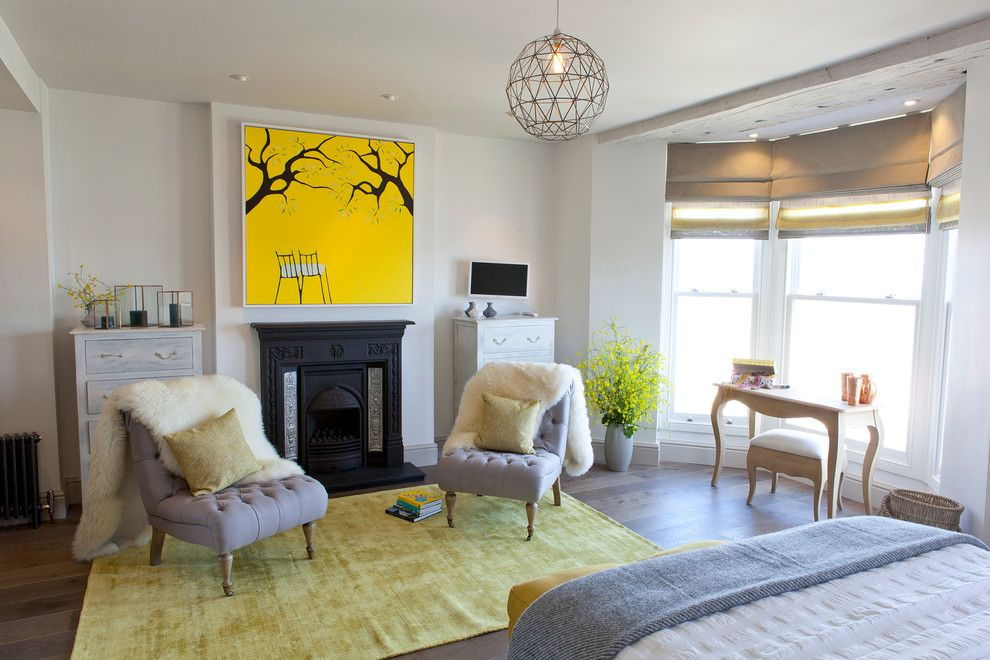 Painting Particle Board for a Beach Style Bedroom with a Yellow Painting and St Ives, Cornwall by Camellia Interiors Ltd