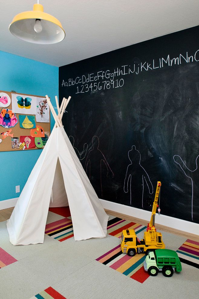Painting Particle Board for a Eclectic Kids with a Modern Playroom and Modern Eclectic by J Manning Studio