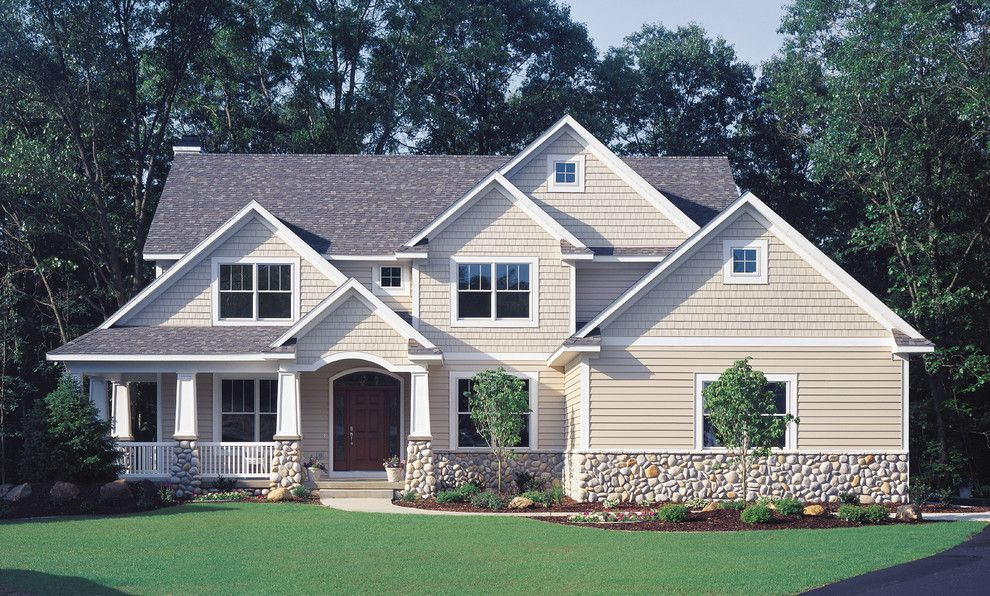 Painting Vinyl Siding for a Traditional Exterior with a White and Craftsman Built with Vinyl Siding by Vinyl Siding Institute