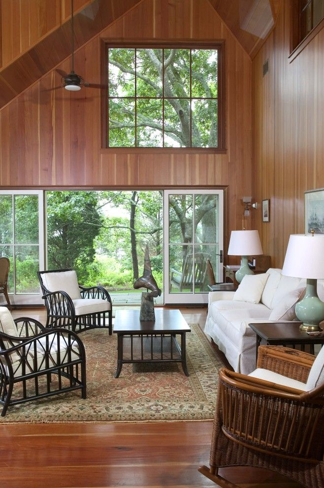 Palecek for a Traditional Living Room with a Wood Chairs and Martha's Vineyard Addition   Living Room by Frank Shirley Architects