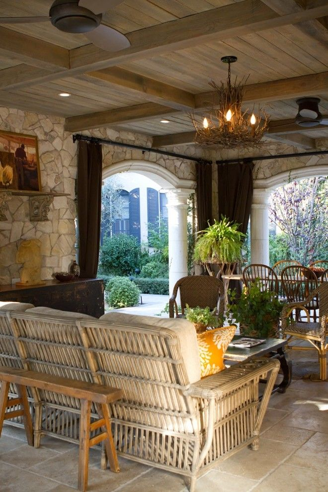 Palecek for a Traditional Patio with a Traditional and Charmean Neithart Interiors, Llc by Charmean Neithart Interiors